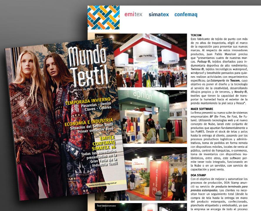 Revista Mundo Textil – Especial Emitex, Simatex, Confemaq (Edición Agosto 2016)